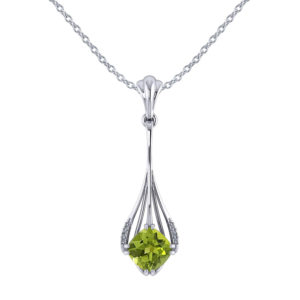 Drop Cushion Peridot Diamond Pendant