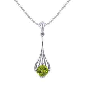 Drop Cushion Peridot Diamond Pendant