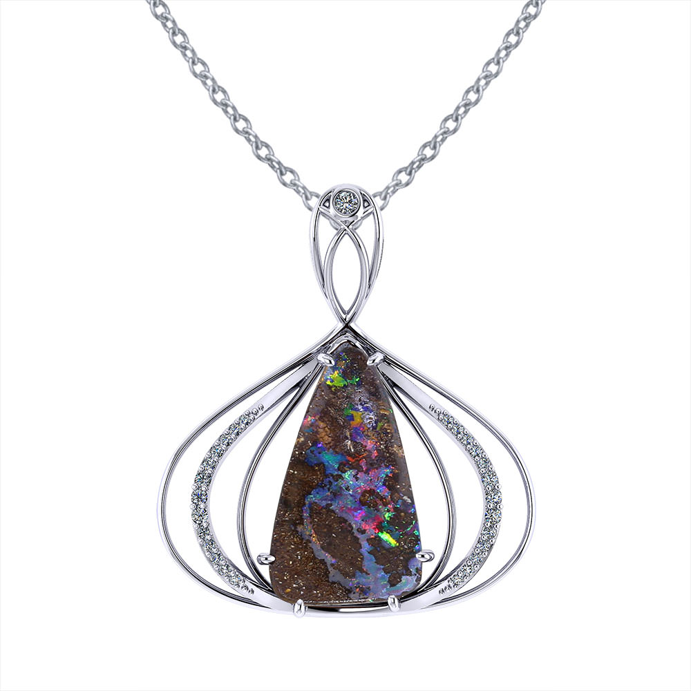 Elegant Boulder Opal Necklace