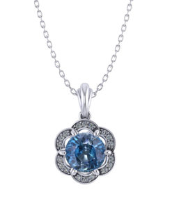 Halo Blue Zircon Pendant