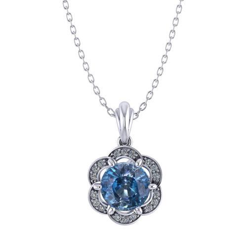 Halo Blue Zircon Pendant