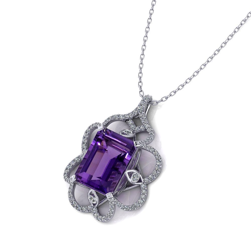 Artisan Diamond Amethyst Pendant