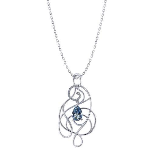 Artistic Aquamarine Drop Necklace