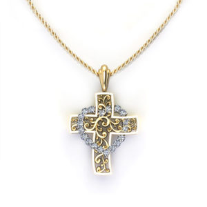 Cross With Diamond Heart
