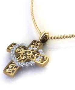 Cross With Diamond Heart