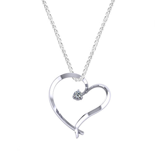 Floating Diamond Heart Necklace