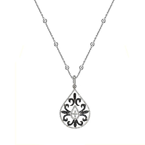Black and White Open Tear Necklace
