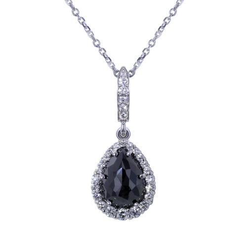 Tear Drop Black Diamond Necklace