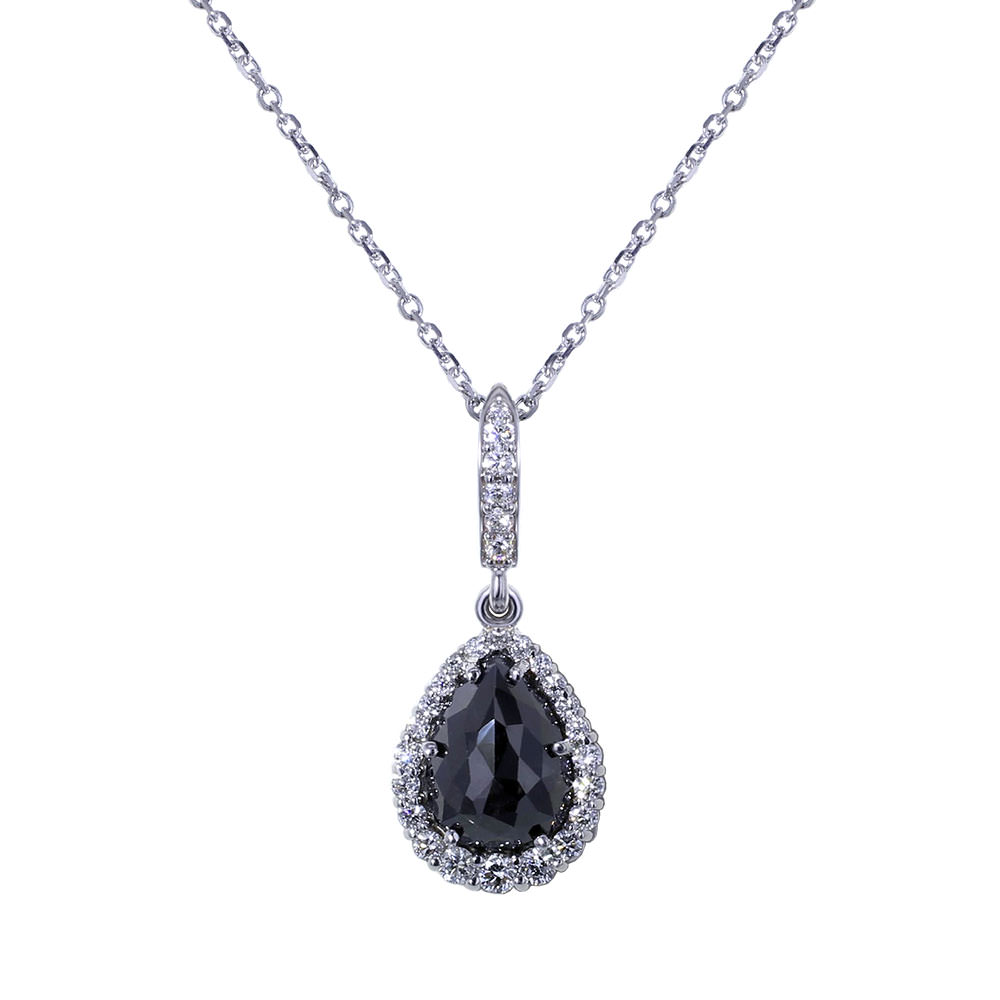 Tear Drop Black Diamond Necklace