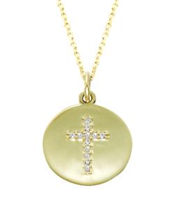 Gold Diamond Cross Charm