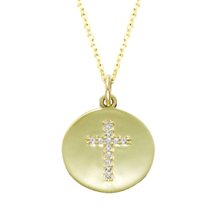 Gold Diamond Cross Charm