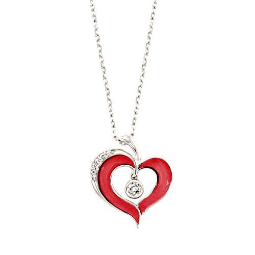 Red Ceramic Diamond Heart Necklace - Jewelry Designs