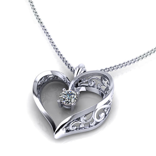 ND407-1 Scroll Heart Pendant