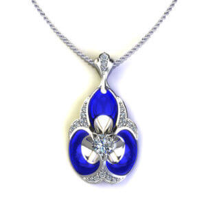 ND410-1 Blue Ceramic Diamond Necklace
