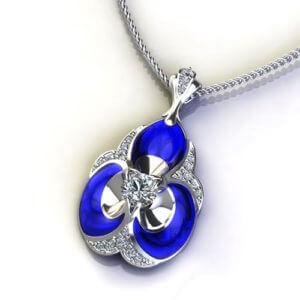 ND410-1 Blue Ceramic Diamond Necklace