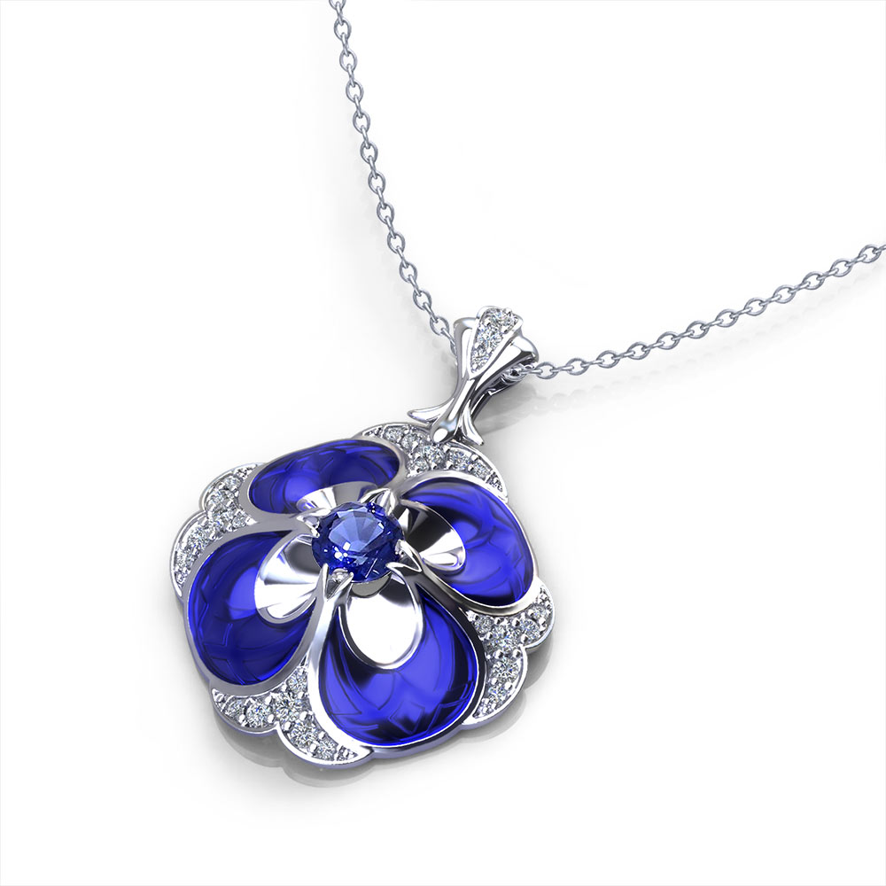 Pansy Sapphire Necklace