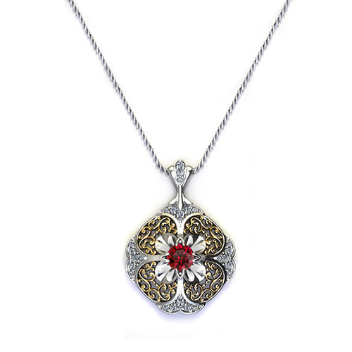 ND412-2 Edgy Renaissance Ruby Necklace