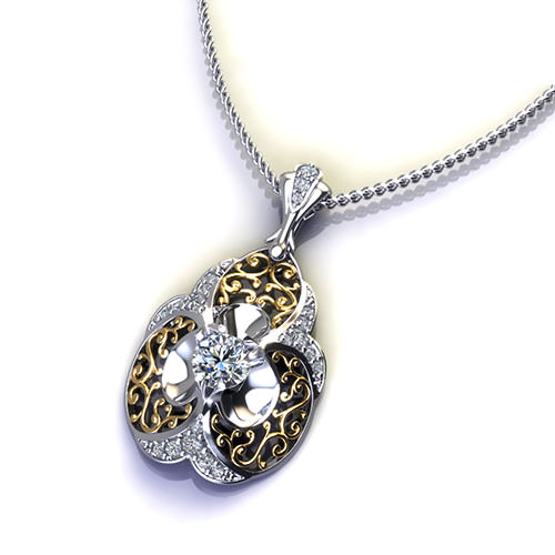 Diamond Filigree Necklace- 2 tone