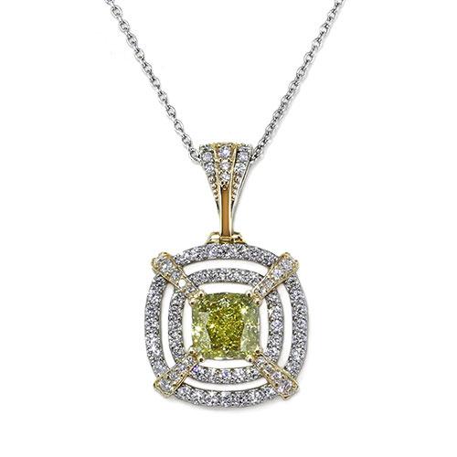 Fancy Yellow Cushion Diamond Necklace