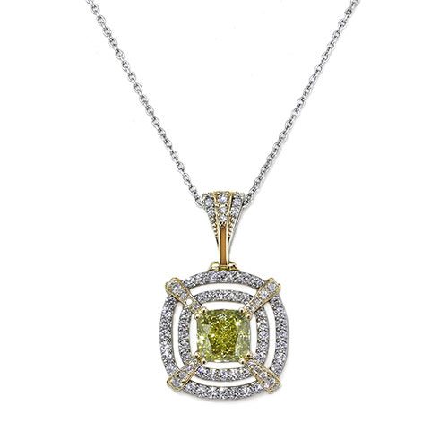 Fancy Yellow Cushion Diamond Necklace