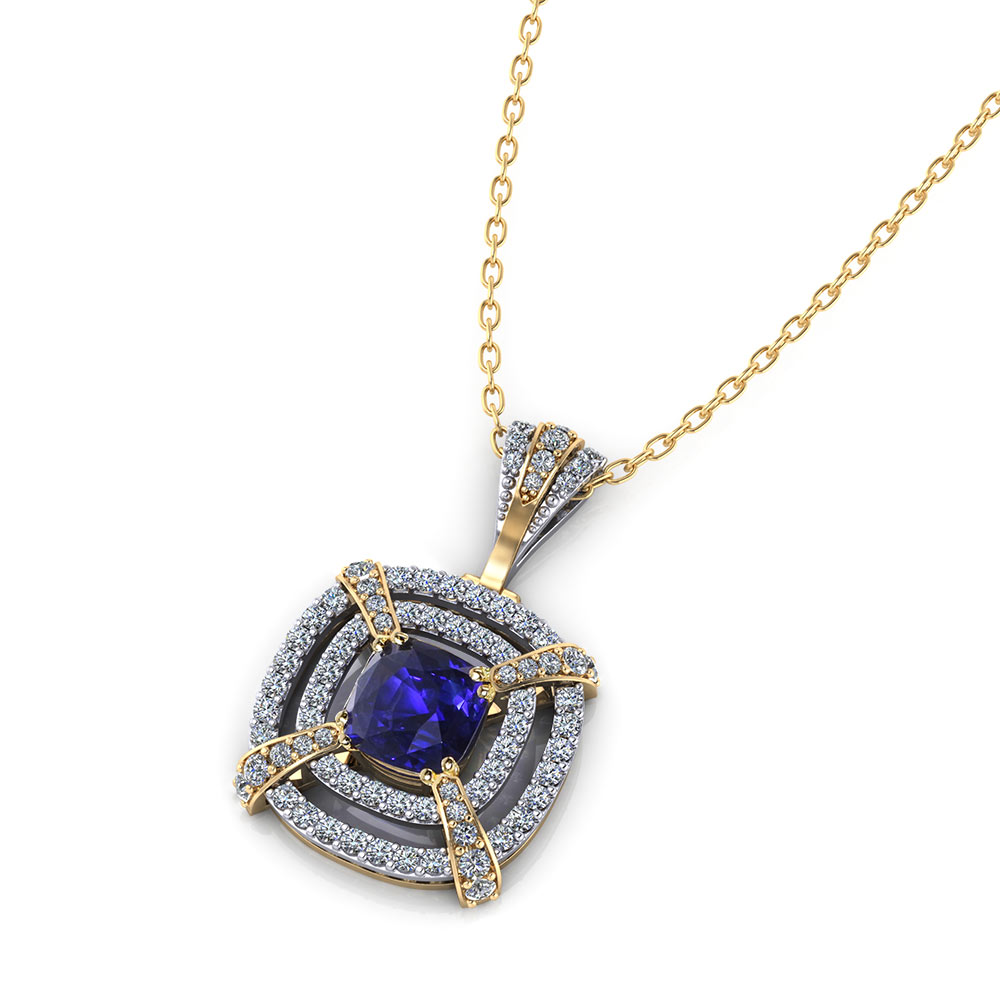 Tiered Diamond Sapphire Necklace