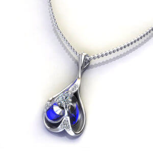 Blue Diamond Drop Necklace