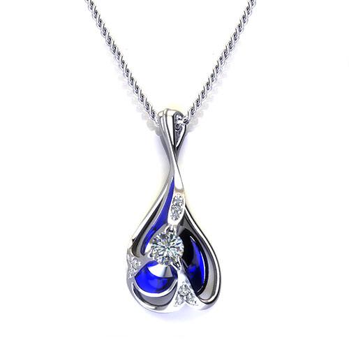 Blue Diamond Drop Necklace