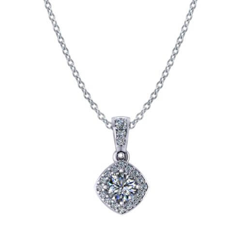 Round Halo Diamond Necklace