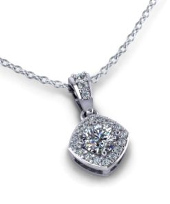 Round Halo Diamond Necklace