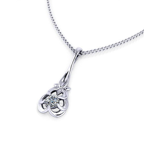 Floral Diamond Drop Necklace