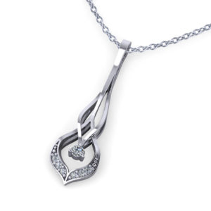 Interwoven Diamond Drop Necklace- angle