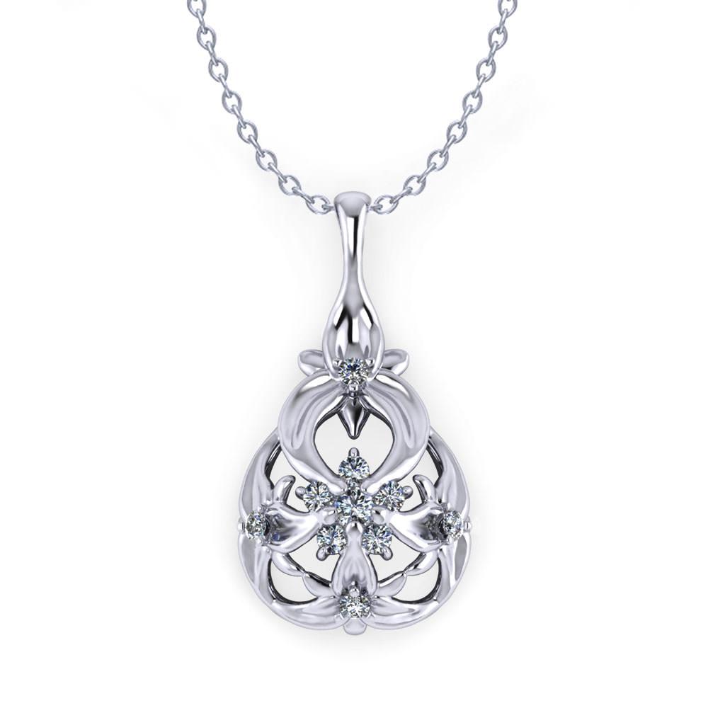 Floral Drop Diamond Necklace