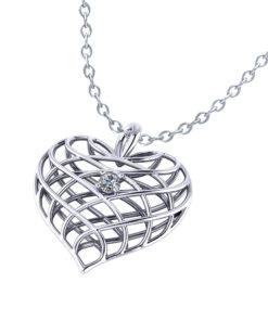 Diamond Open Heart Necklace-angle