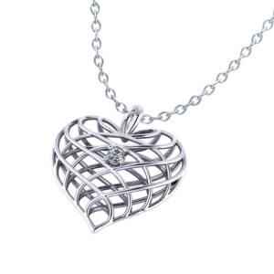 Diamond Open Heart Necklace-angle
