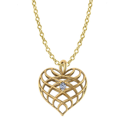 Diamond Open Heart Necklace-yellow