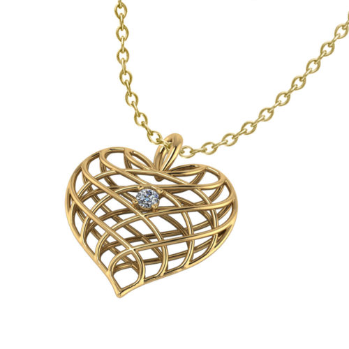 Diamond Open Heart Necklace-yellow-angle