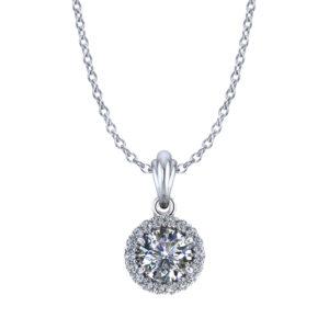 Ballerina Halo Diamond Necklace