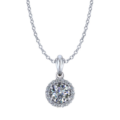 Ballerina Halo Diamond Necklace
