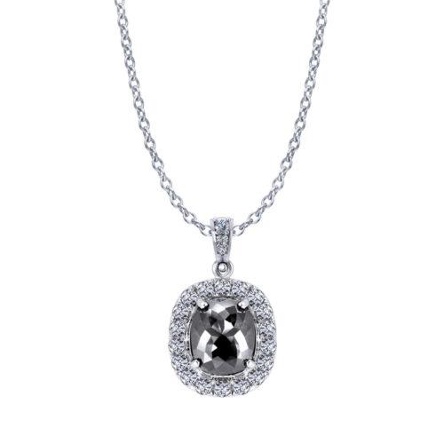 Cushion Halo Black Diamond Necklace