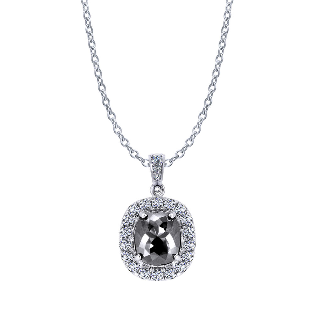 Cushion Halo Black Diamond Necklace