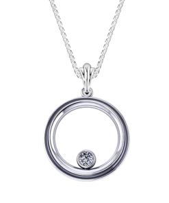 Bezel Circle Diamond Necklace