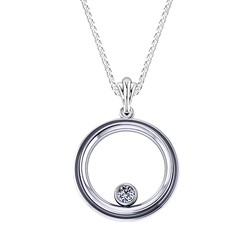 Bezel Circle Diamond Necklace
