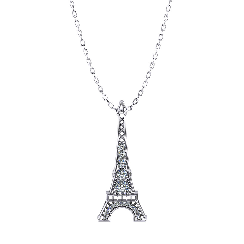 Diamond Eiffel Tower Necklace