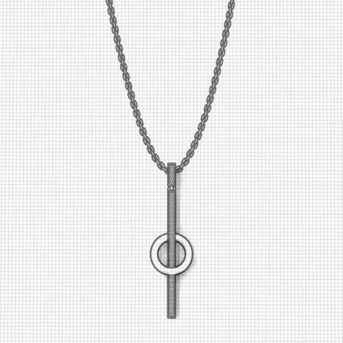 Circle Diamond Line Necklace