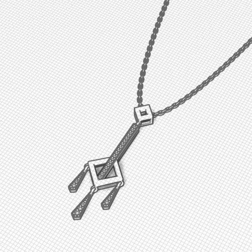 Diamond Square Dangle Necklace