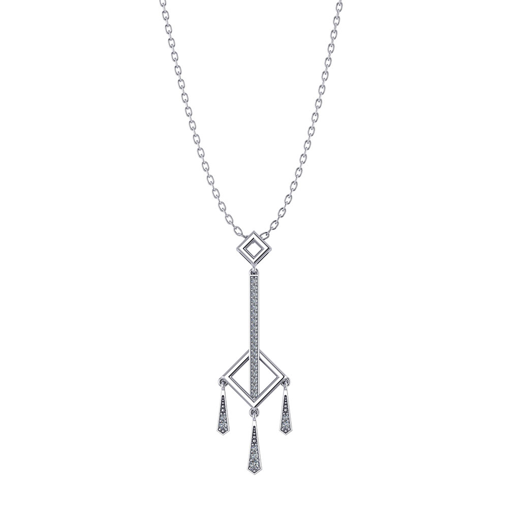 Diamond Square Dangle Necklace