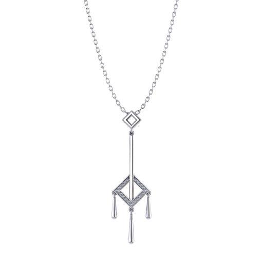 Square Diamond Tassel Necklace