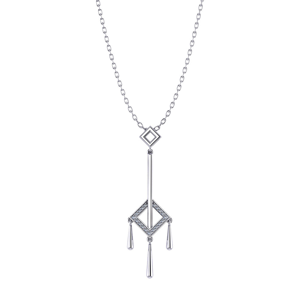 Square Diamond Tassel Necklace