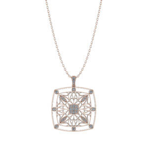 Rose Gold Filigree Diamond Pendant