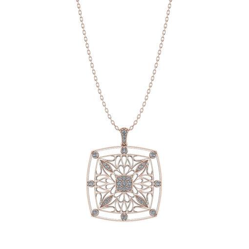 Rose Gold Filigree Diamond Pendant
